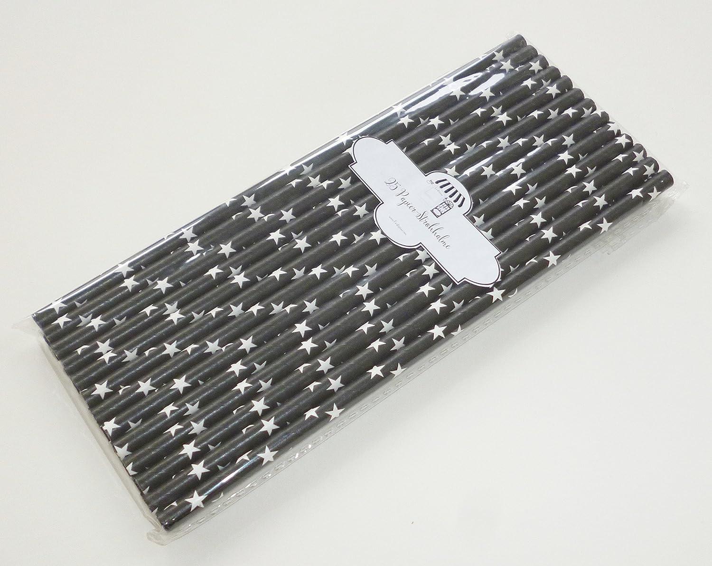 25 para negro de papel con dise/ño de-pajitas con dise/ño de estrellas