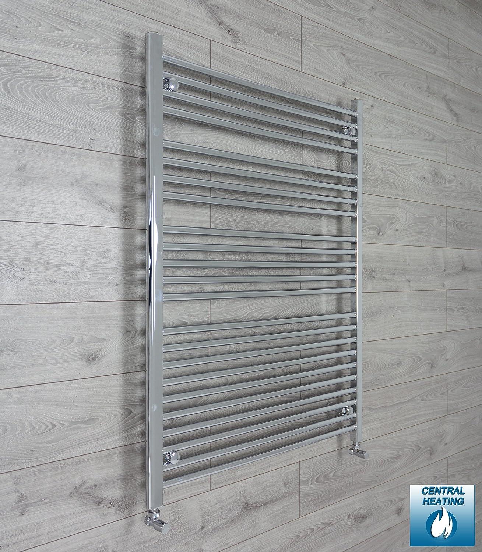 100mm Wide 1200mm High Flat Chrome Towel Radiator Bathroom Radiator ...