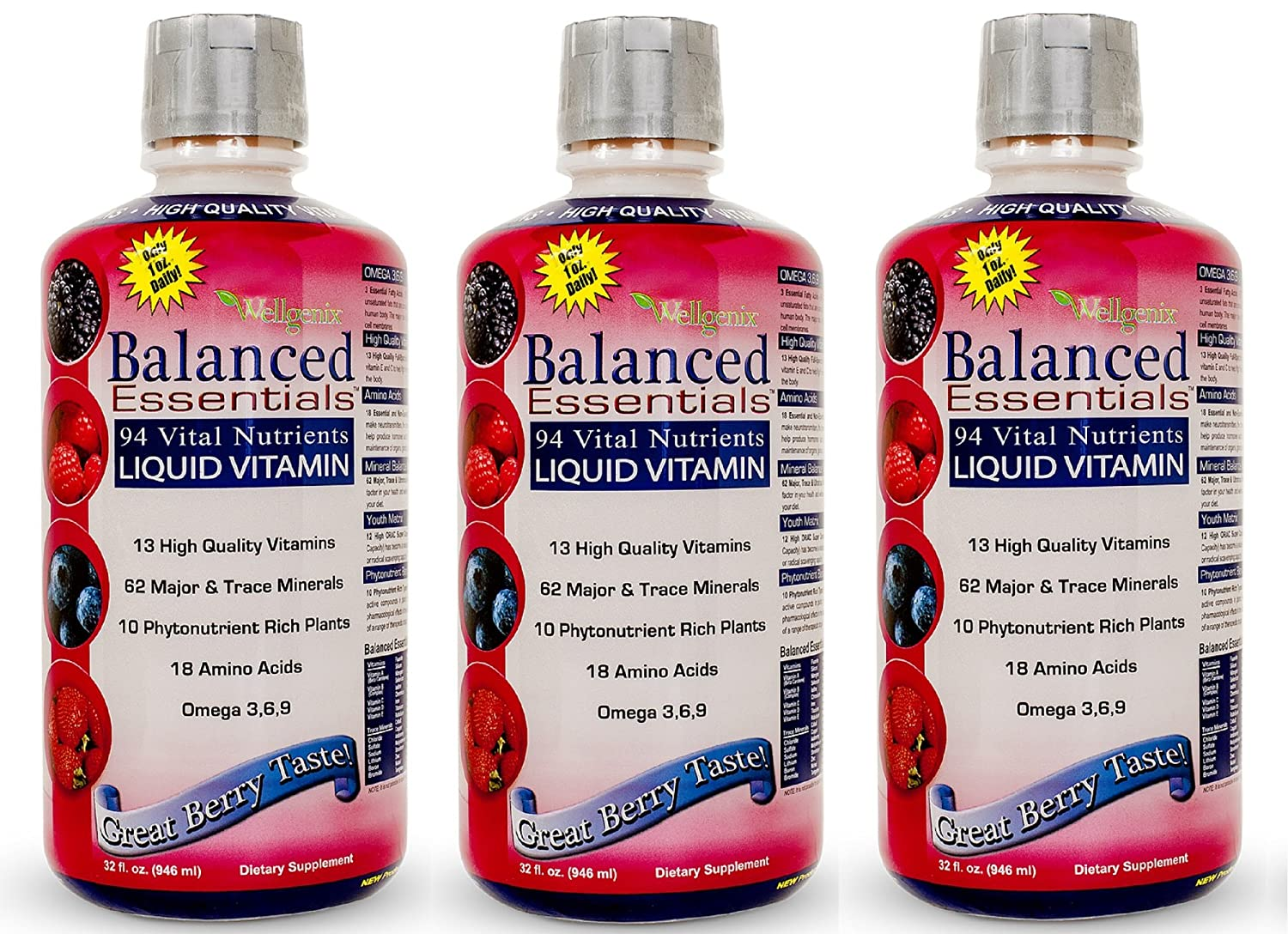 Balanced Essentials 3 Pack Natural Liquid Nutritional Supplement Vitamin 32 Ounces Very Berry S-BE32