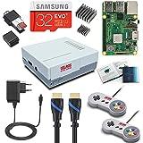 V-Kits Raspberry Pi 3 Model B+ (B Plus) Retro Arcade Gaming Kit mit 2 klassischen USB Controllern (DE-Edition)