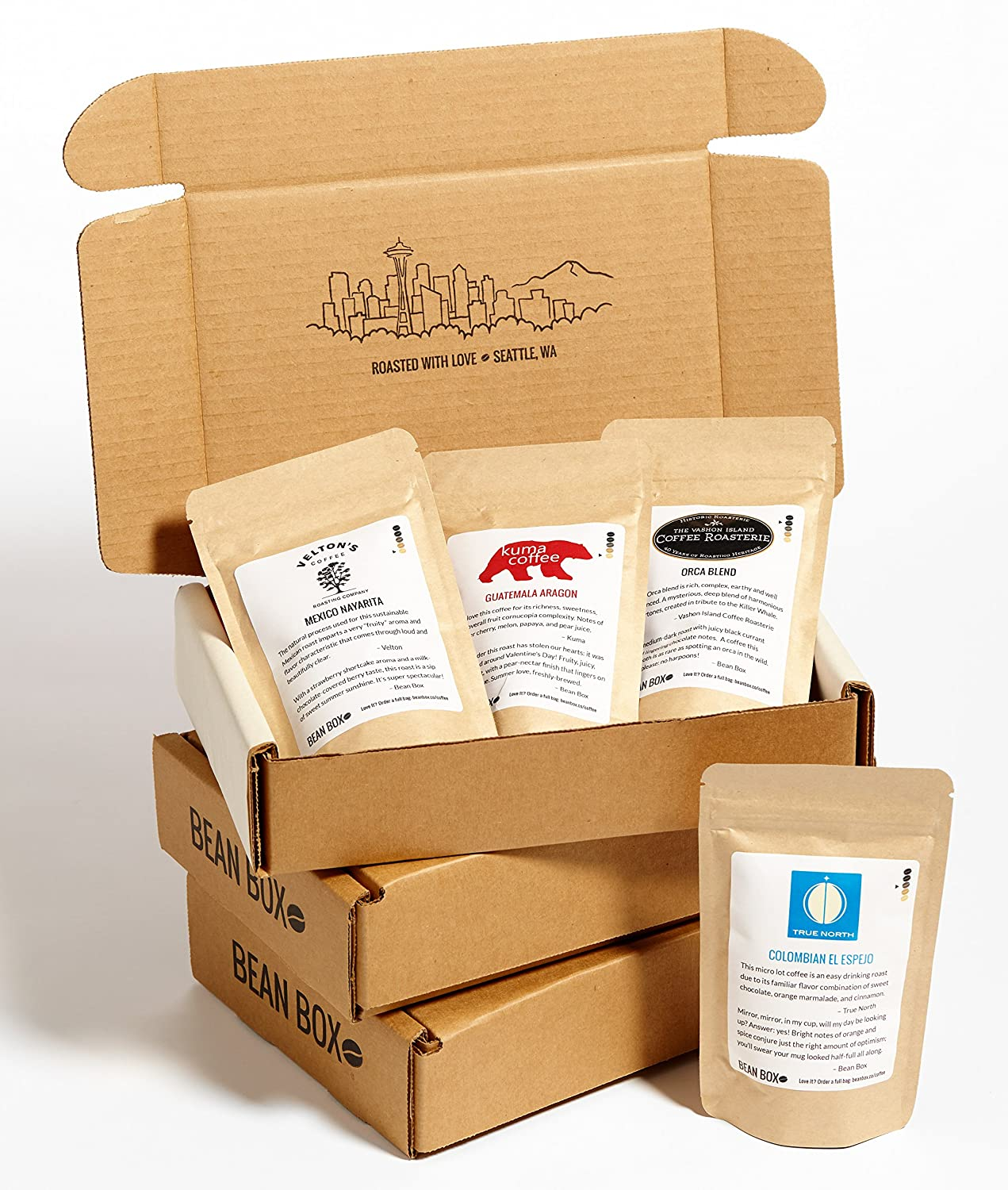 B01GOZYOCO Bean Box Gourmet Decaf Roast Coffee Sampler - 3-Month Gift Subscription - (whole bean, 4 roasts every month) 91CHZSoLglL
