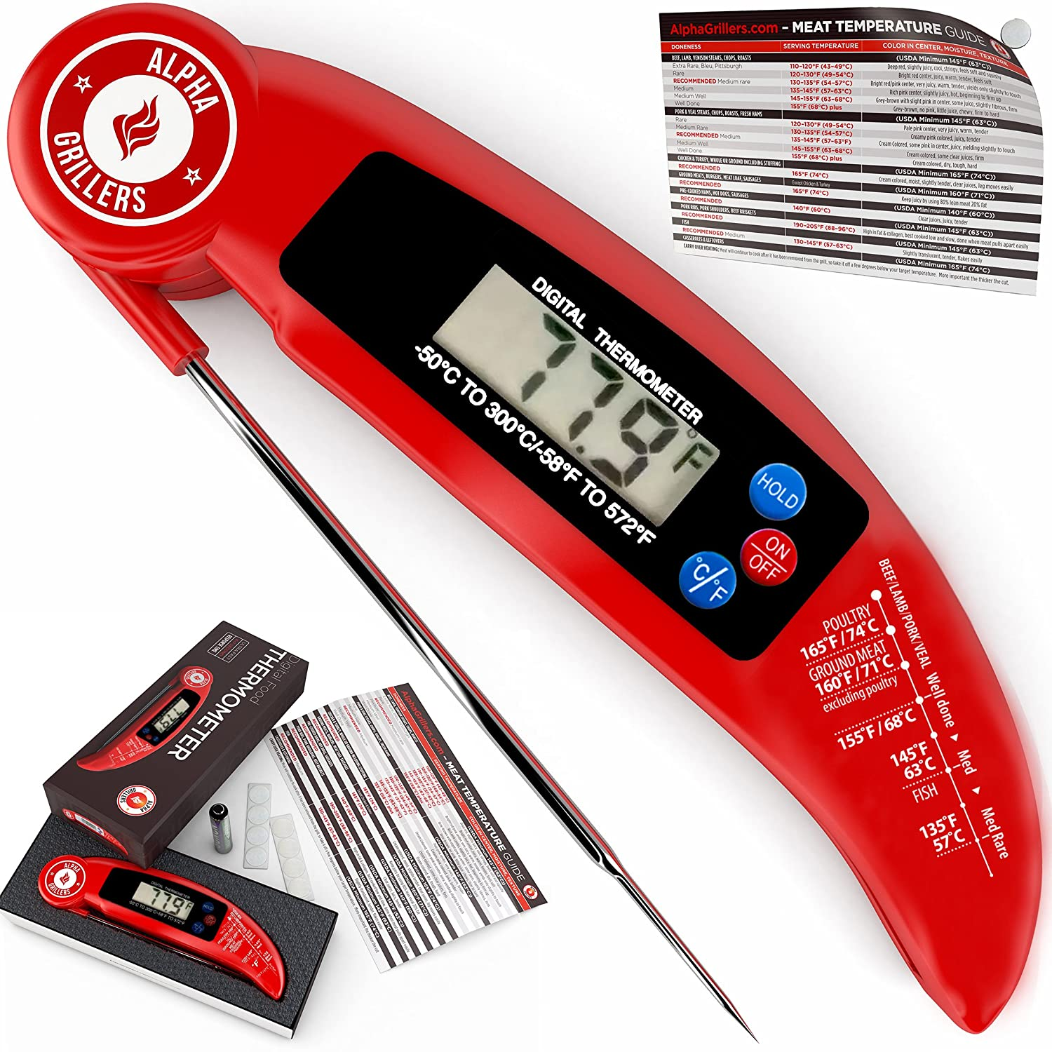 Alpha Grillers Ultra Fast Instant Read Digital Cooking Thermometer With BBQ Meat Internal Temperature Chart.