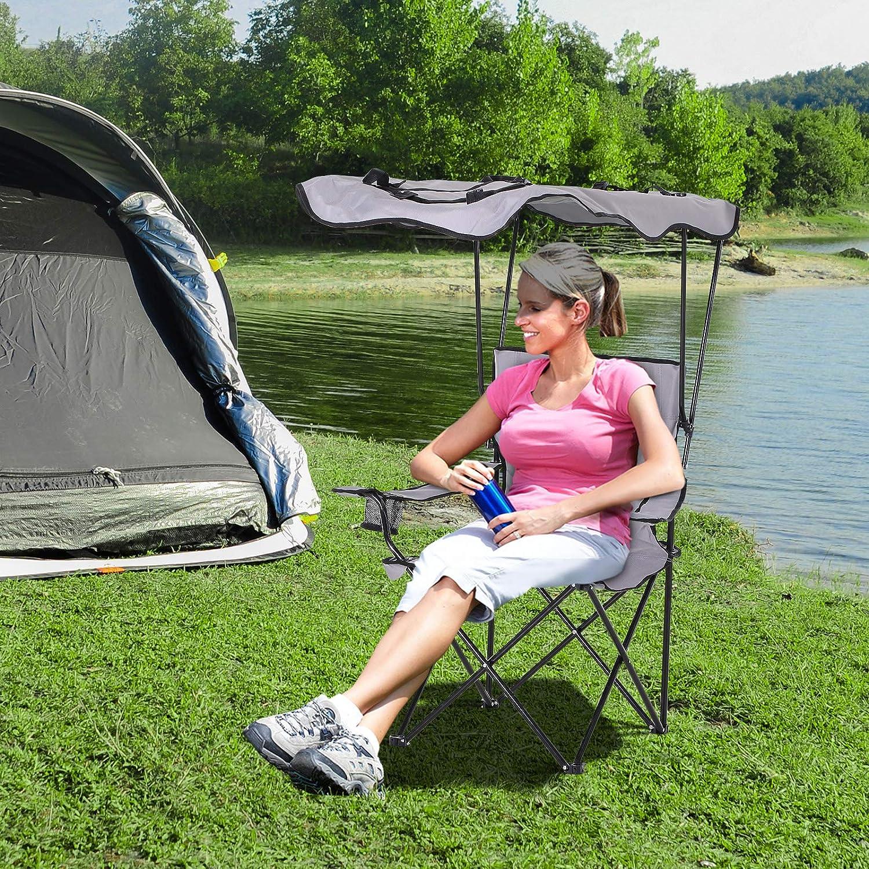 Porte-gobelets int/égr/és possibilit/é d/être port/ée en Sac /à Dos Homcom Chaise de Camping Pliable Grand Confort Pare-Soleil