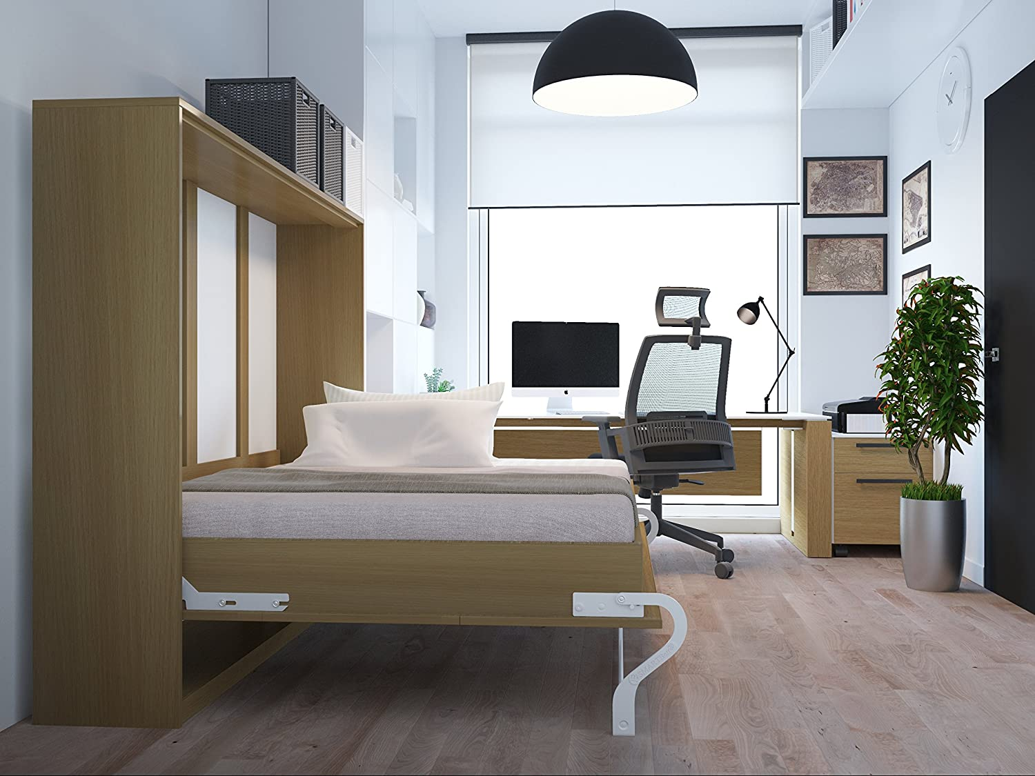 schrankbett 140x200 cm horizontal buche schrankklappbett. Black Bedroom Furniture Sets. Home Design Ideas