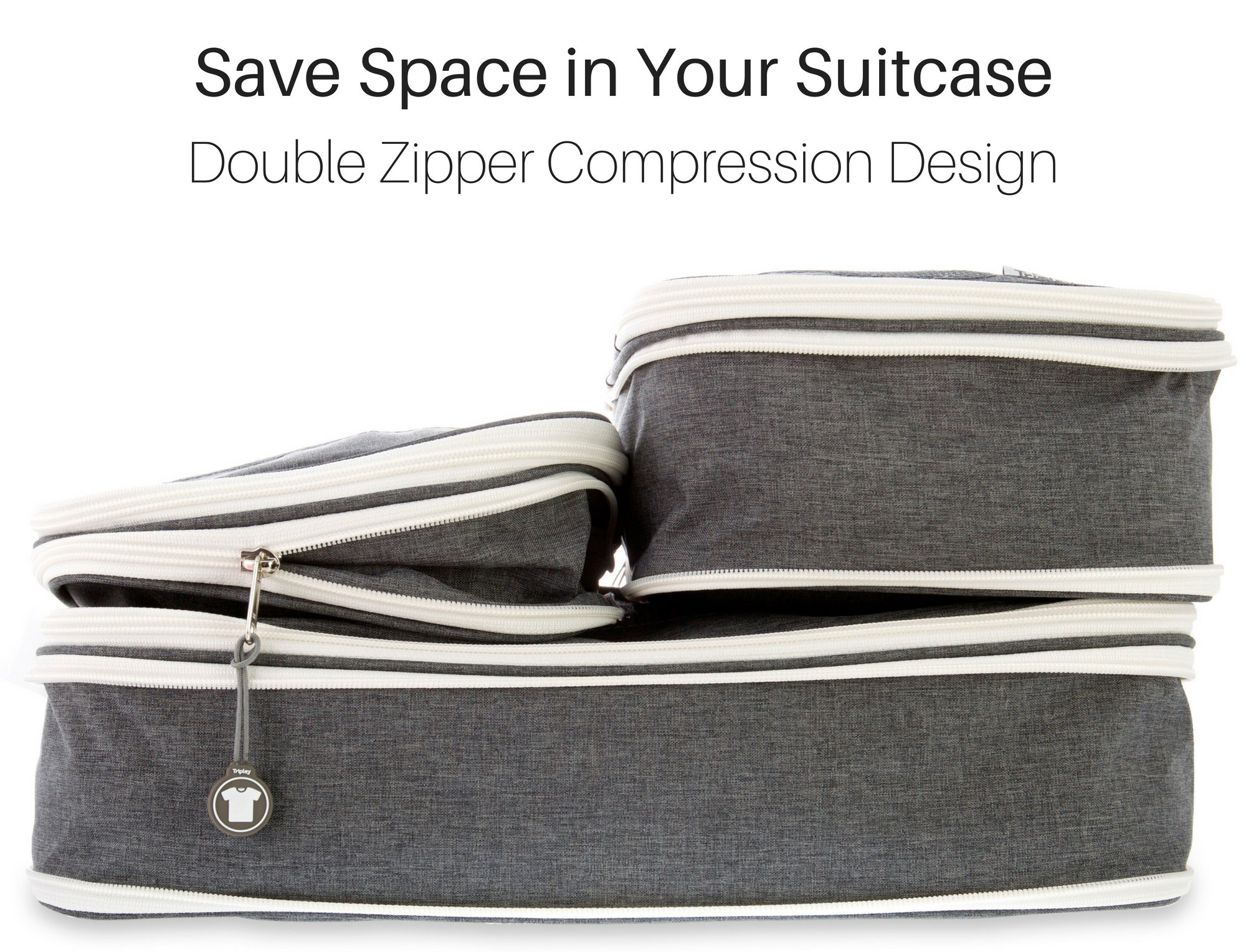 Compression Packing Cubes w/Space Saving Double Zipper, Set of 3 Travel Compression Cubes