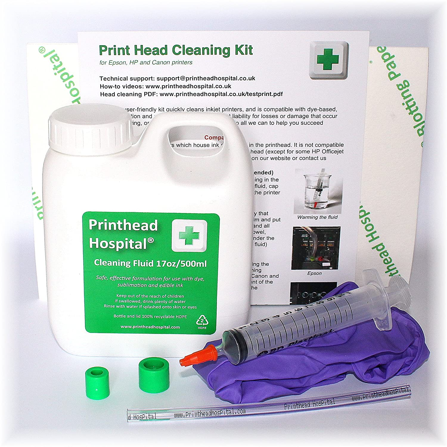 Print Head Cleaning Kit for Epson Canon Brother and HP printers - 17oz 500ml