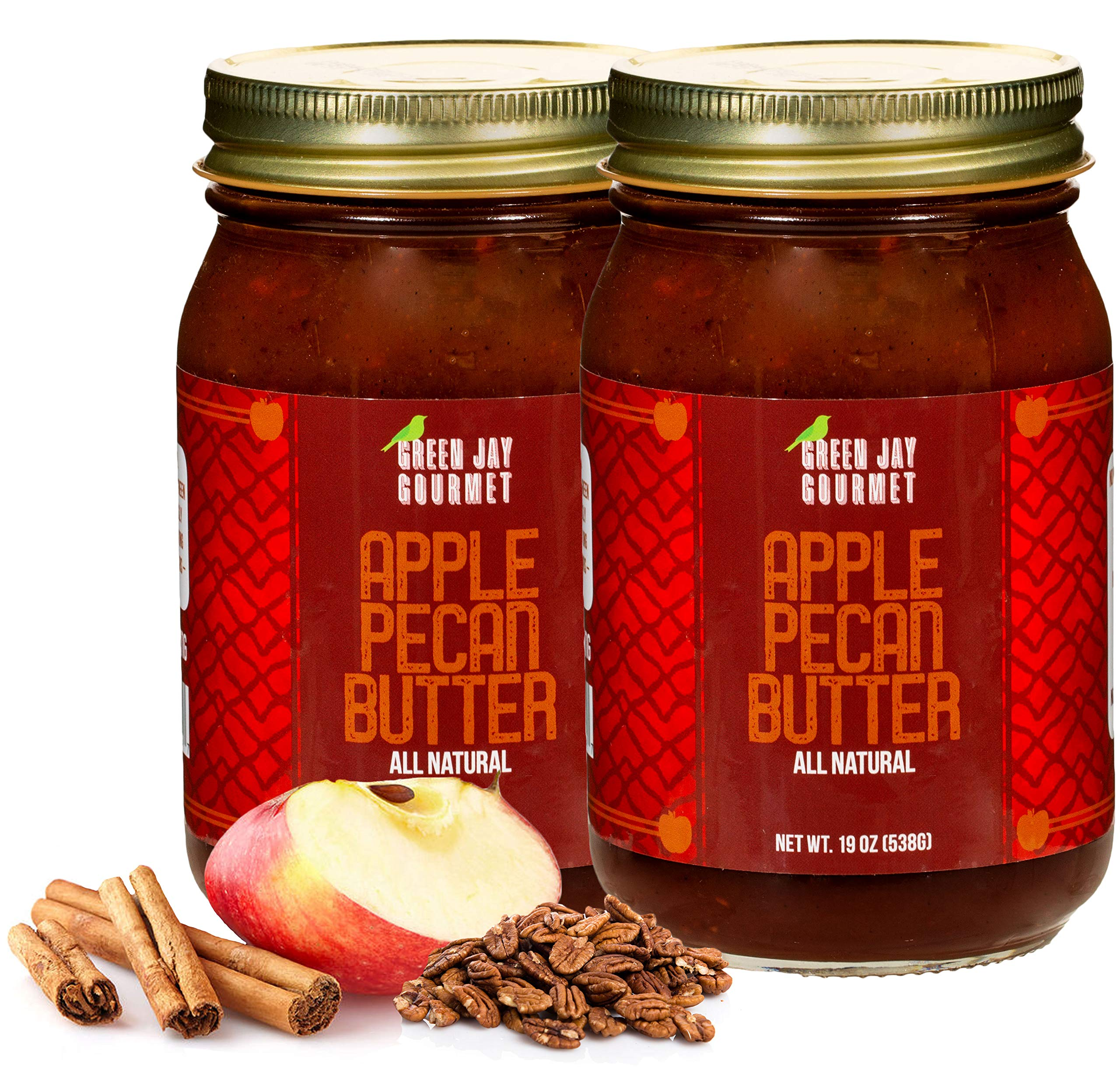 Green Jay Gourmet Apple Pecan Butter - All-Natural, Gluten-Free Fruit Spread - Pecan Apple Butter with Cinnamon - Gourmet Fruit Butter - No Corn Syrup, Preservatives or Trans-Fats - 2 x 19 Ounces