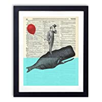 Whale Of A Good Time Upcycled Wall Art Vintage Dictionary Art Print 8x10 inches / 20.32 x 25.4 cm Unframed