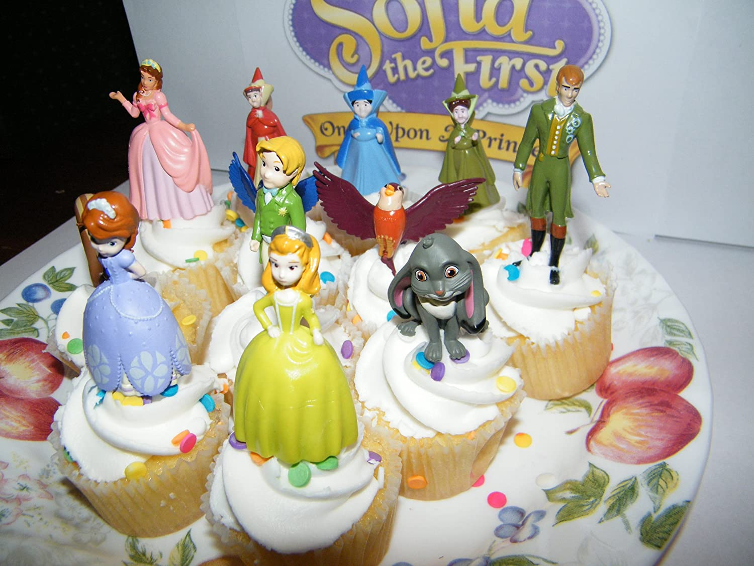 4 Animal Friends Disney Princess Sofia the First Cake Toppers Cupcake Party Favor Decorations Set of 12 includes the 3 Fairies King and Queen and More!