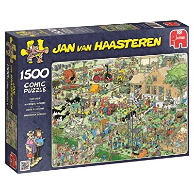 JUMBO Jan Van Haasteren Farm Visit Jigsaw Puzzle (1500 Piece): Toys & Games