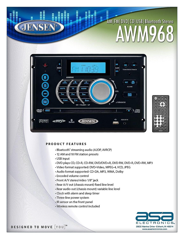 Jensen AWM968 AM/FM/CD/DVD/USB Bluetooth Stereo, Front USB supports  MP3/WMA, DVD Player CD, CD-R, CD-RW, DVD/DVD+R, DVD RW, DVD-R, DVD-RW,  DVD-Video,