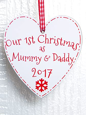 Our First Christmas As Mummy & Daddy Heart Plaque - 1st Xmas Tree ...