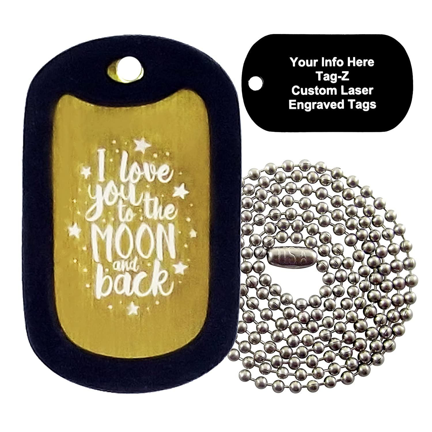 ca3aca7e52 Amazon.com : Military Dog Tags - CUSTOM ENGRAVED I Love You to the Moon and  Back - Gold - Military Dog Tag Necklace - Tag-Z : Pet Supplies