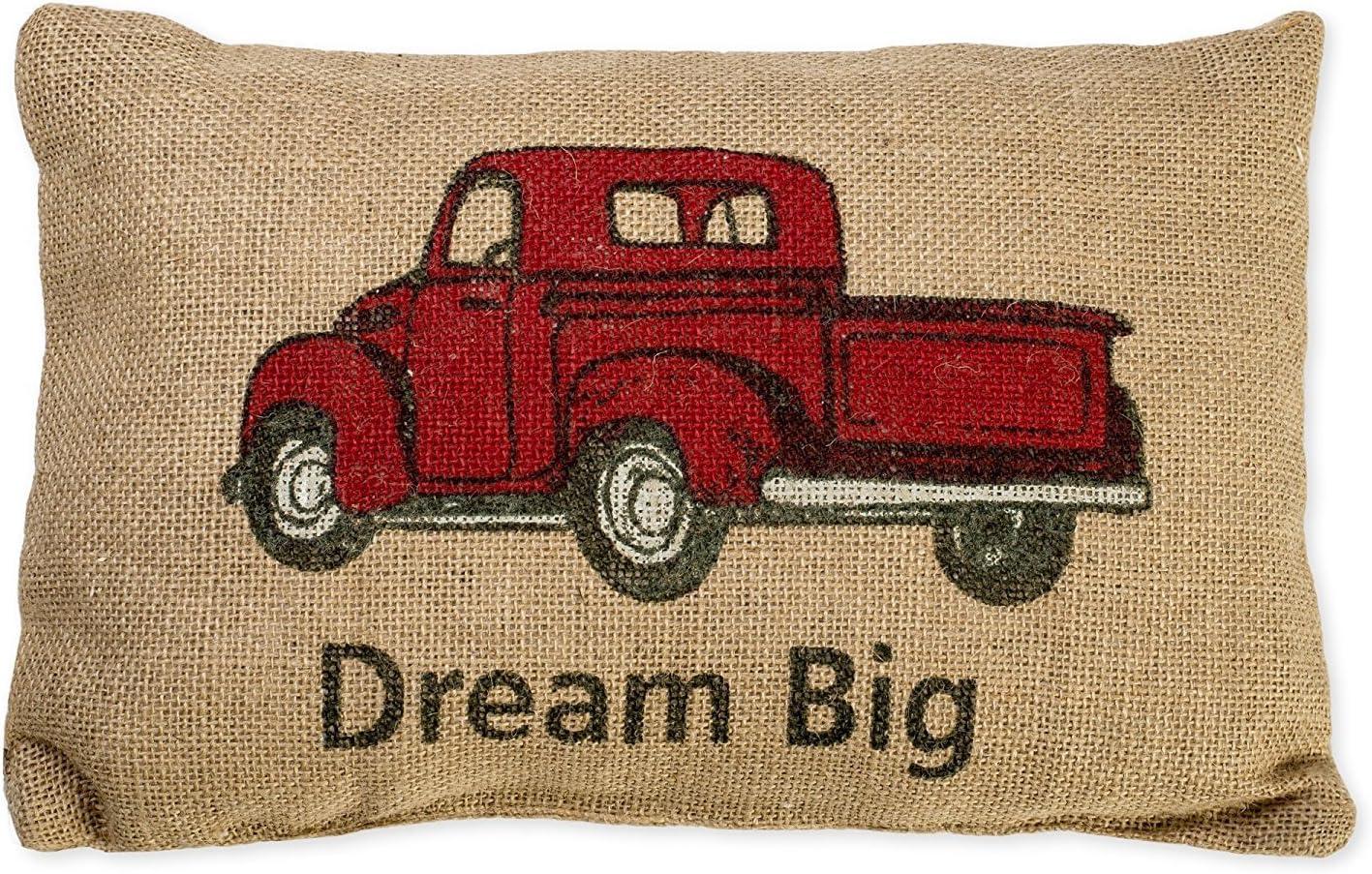 DREAM BIG BURLAP PILLOW NEW SUPER CUTE RED TRUCK PRIMITIVE