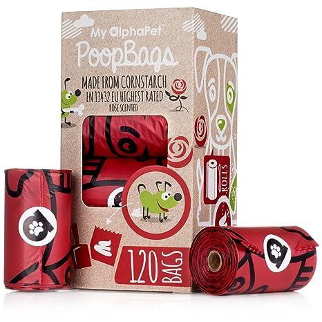 Bolsas Caca Perro Biodegradables MyAlphaPet –Respeta el Medio Ambiente – La Mejor Valorada EN13432 – 8 Rollos Olor Rosa 120 Bolsitas – Tamaño Grande ...