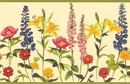 Wallpaper Border Wildflowers Red Yellow Pink Blue Purple Green