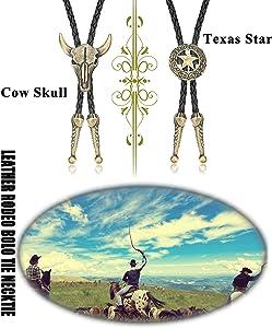 Thunaraz 2Pcs Leather Tie Necktie Cow Skull Texas Ranger Star Chain for Men Rodeo Bolo Tie Necktie