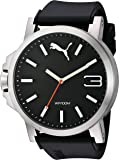 PUMA Quartz Stainless Steel and Polyurethane Watch, Color:Black (Model: PU102941006)