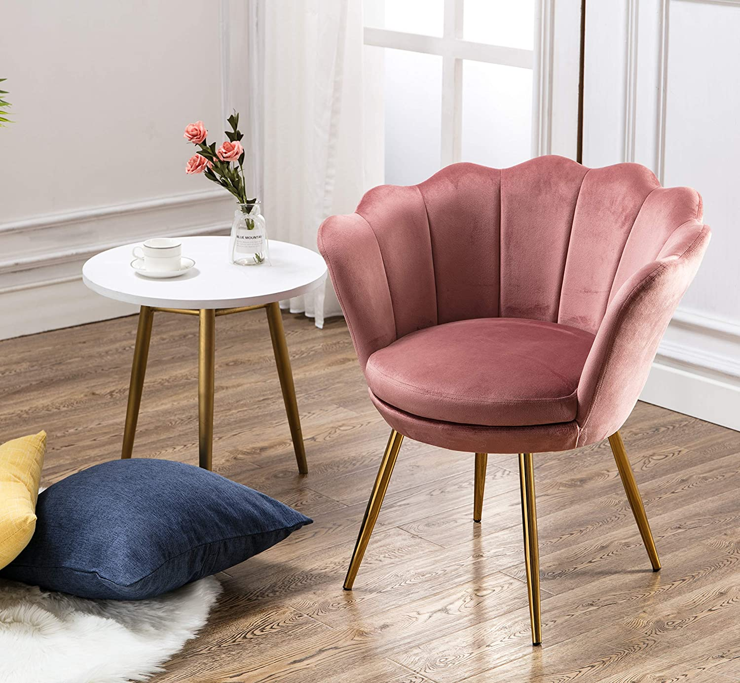 Wahson Velvet Accent Chair for Bedroom with Gold Plating Metal Legs,  Leisure Armchair for Living Room/Cafe/Vanity (Pink)