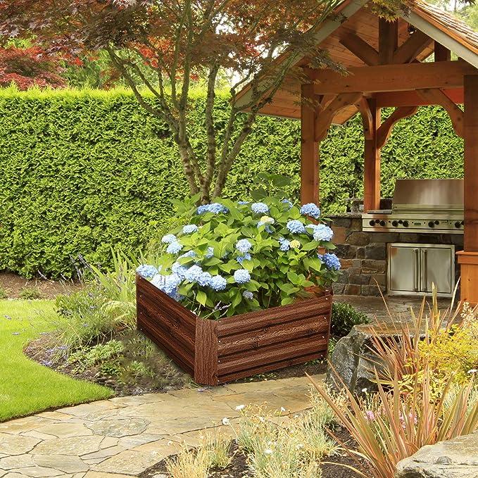 vidaXL Raised Garden Bed Metal Square Planter Pot Flower Vegetables Boxes Container Outdoor 100x100x77cm Galvanised Steel Green