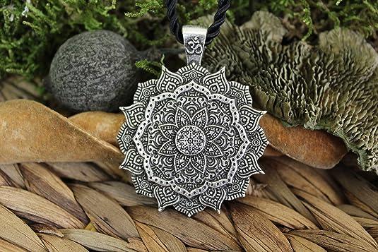 Collier Pendentif Amulette Fleur Mandala//G/éom/étrie Sacr/ée//Lotus OM Bouddhiste Yoga Zen//Cadeau Original Unisexe Femme Homme