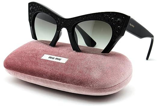 3d5f39508e42 Amazon.com  Miu Miu MU 02QS Cateye Women Sunglasses (Shiny Black Frame