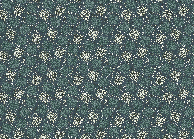 Blau 6 Stk T/ürkis Geschenkpapier Set: Blumen und Bl/ätter Creme