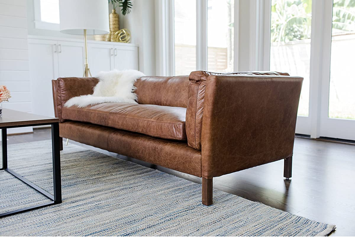 Edloe Finch Modern Leather Sofa - Mid Century Modern Couch - Top Grain Brazilian Leather - Cognac Brown