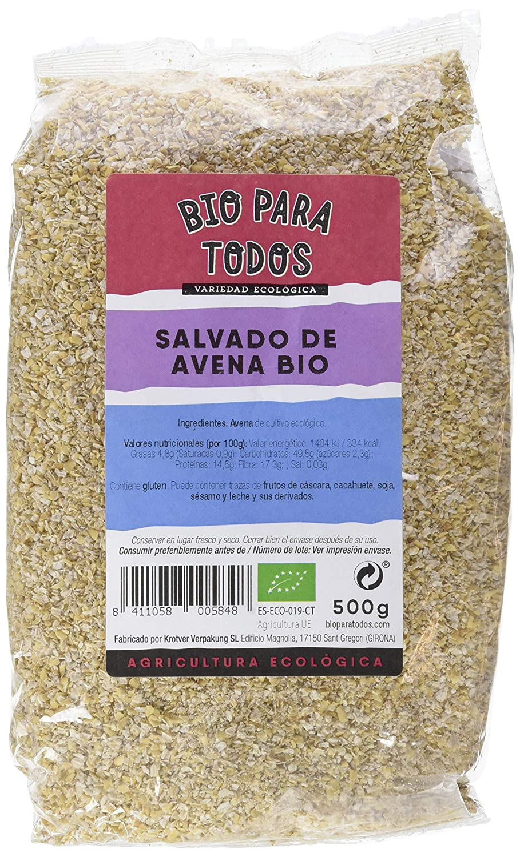 Bio para todos Salvado de Avena Bio - 12 Paquetes de 500 gr - Total: 6000 gr: Amazon.es: Alimentación y bebidas