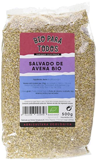 Bio para todos Salvado de Avena Bio - 12 Paquetes de 500 gr - Total:
