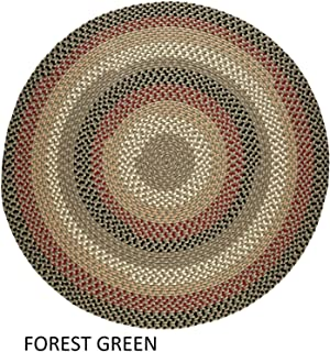 product image for Rhody Rug Jamestown Indoor/Outdoor Braided Rug Forest Green 4' Round Reversible 4' Square Indoor Round