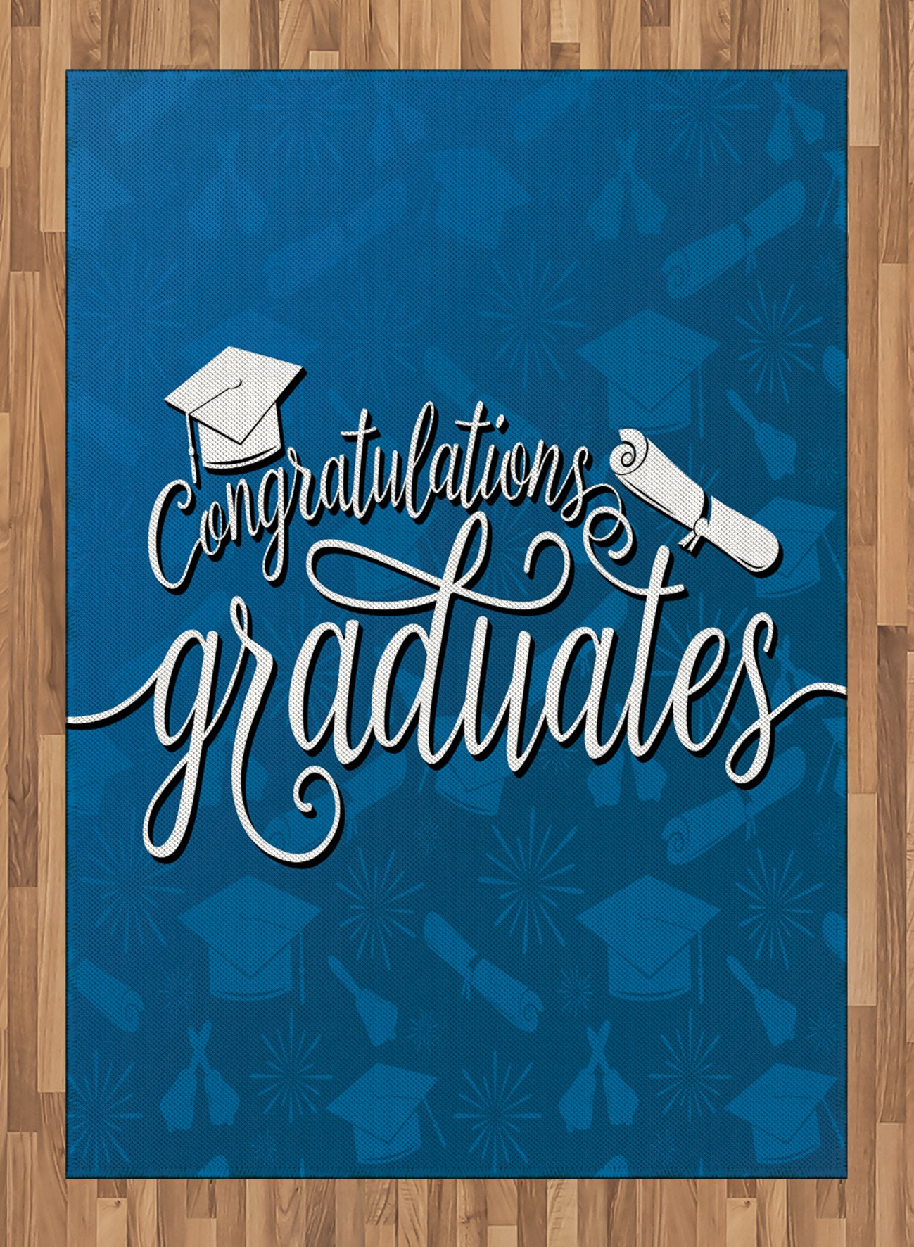 Graduation Area Rug by Lunarable, College Celebration Ceremony Certificate Diploma Square Academic Cap Print, Flat Woven Accent Rug for Living Room Bedroom Dining Room, 5.2 x 7.5 FT, Blue and White