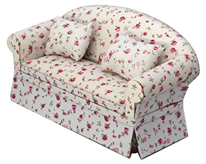 Inusitus Miniature Dollhouse Sofa   Dolls House Furniture Couch   1/12  Scale (Flower
