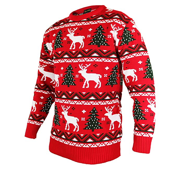 Great Quality Christmas Jumpers In Fairisle Red Winter Warm Knitted Style With Reindeer Gift Box And Snowflake Design Round Neck With Ribbed Cuff
