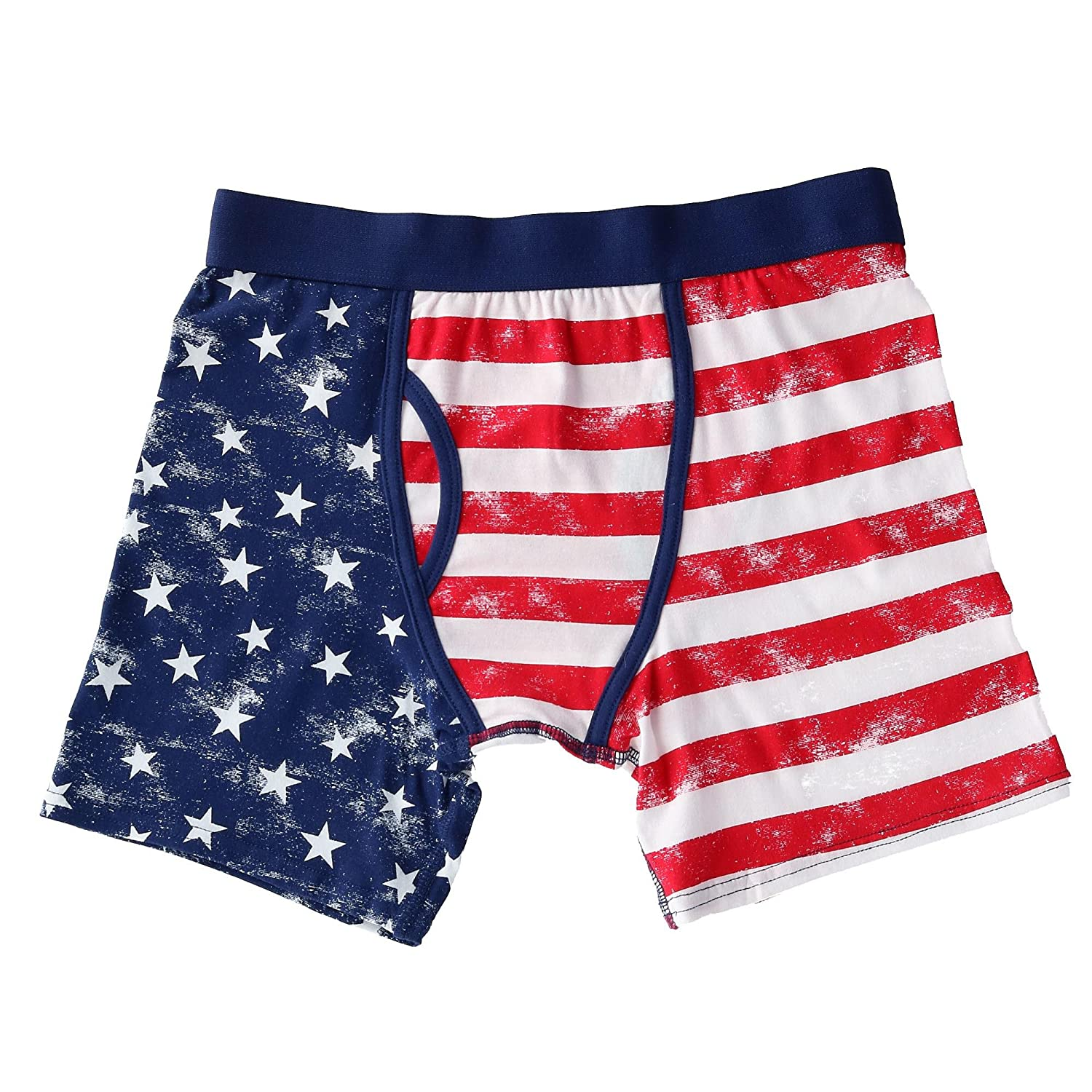bioworld Men's Distressed American Flag Boxer Brief Underwear
