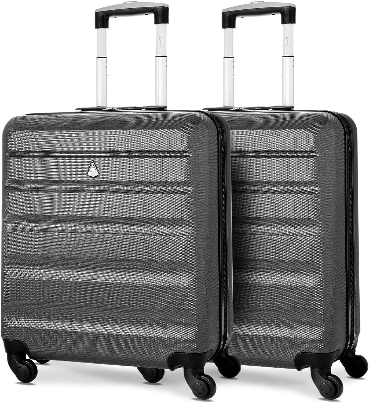 Aerolite 56x45x25 Tamaño Máximo Easyjet/Iberia / Jet2 / British Airways 46L Trolley Maleta Equipaje de Mano Cabina rígida Ligera con 4 Ruedas, 2 x Carbón