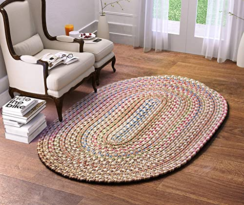 Super Area Rugs Roxbury Indoor Outdoor Braided Rug Straw Natural Multi Colored RB59, 5 X 8 Oval