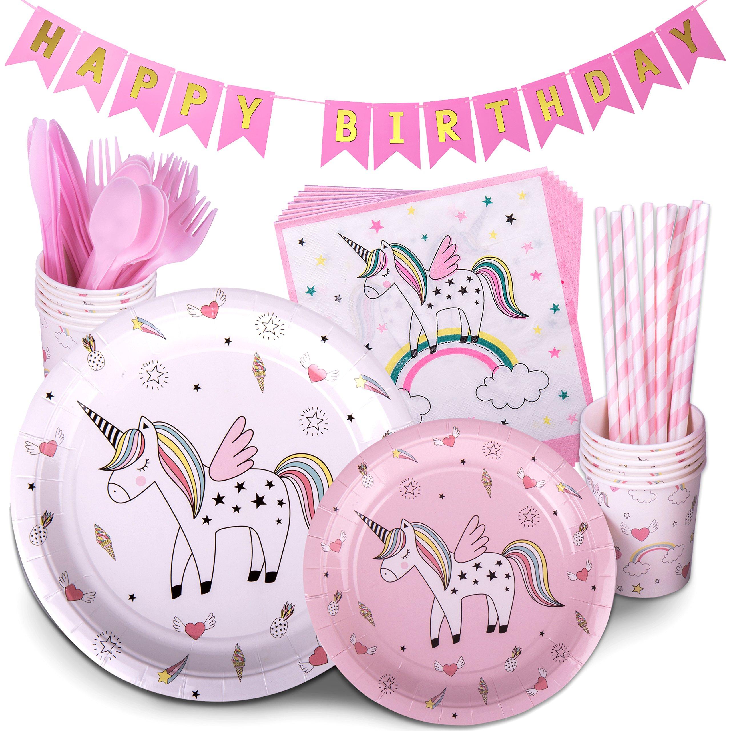 Pink Rainbow Unicorn Birthday Party Supplies 72 Pc Pack Plates ...