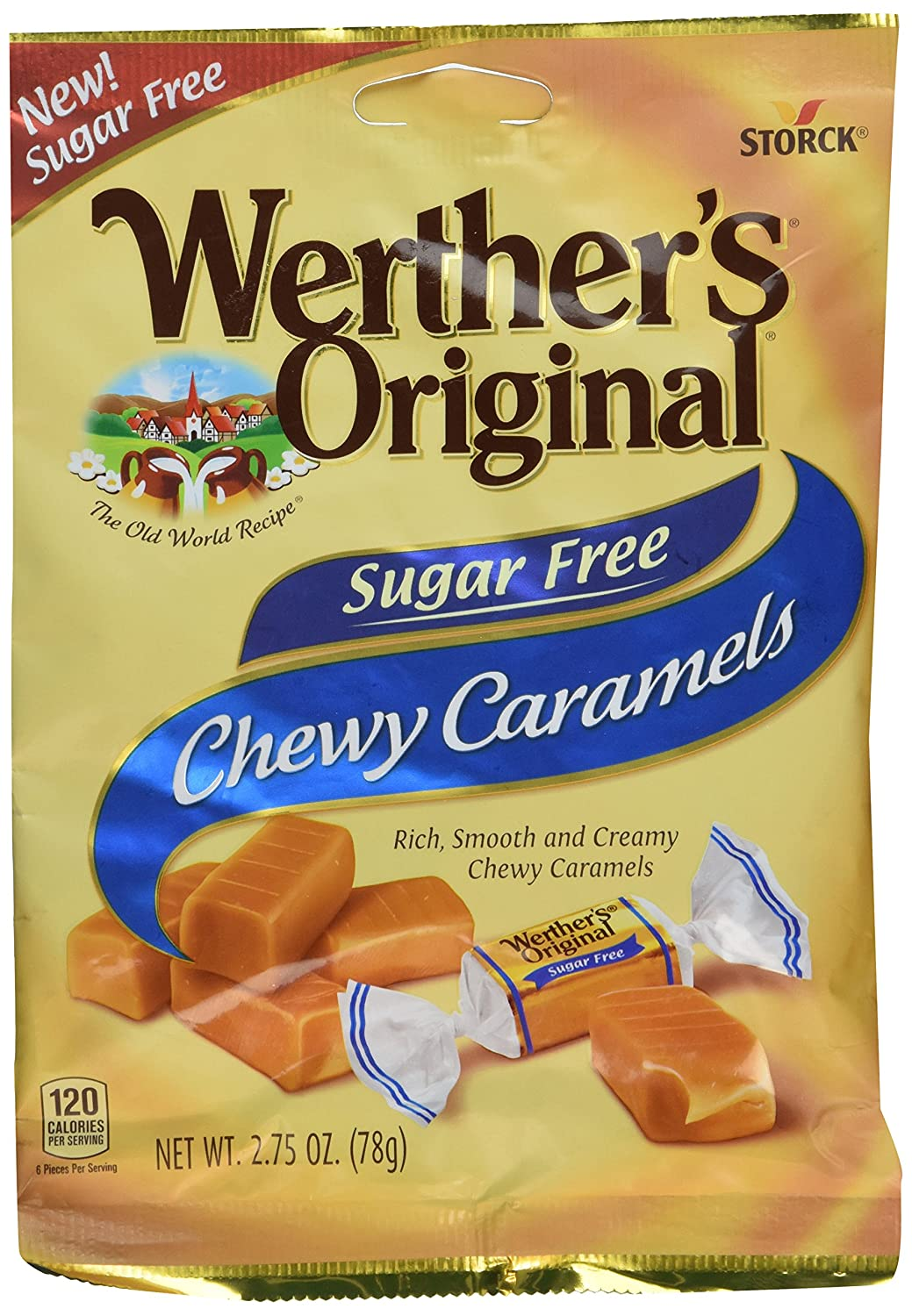 Werther's Original Sugar Free Chewy Caramels 2.75 Oz (Pack Of 2)