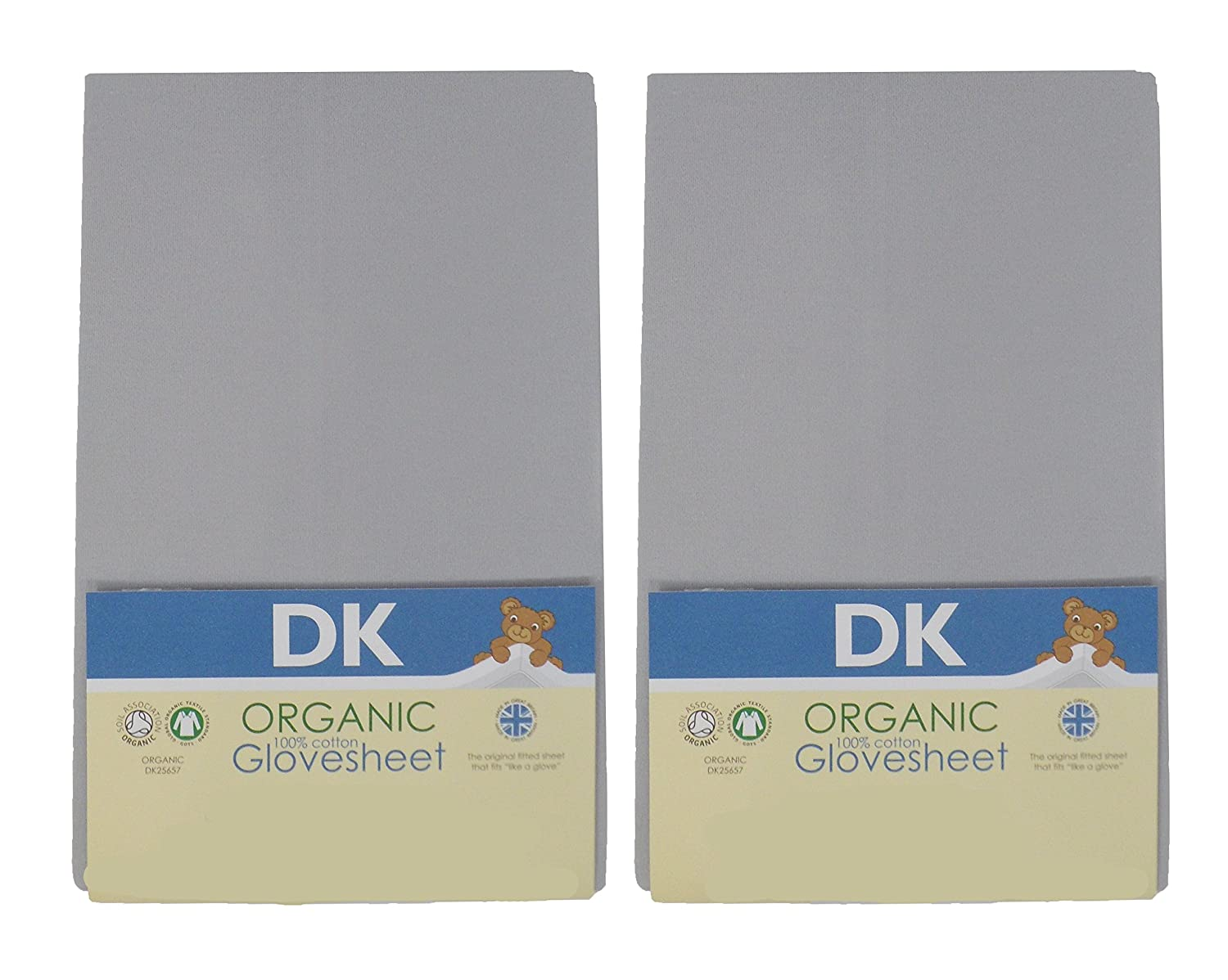 DK Glovesheets Two Dove Grey GOTS Certified 100% Organic Cotton Fitted Moses Sheets to Fit Mattress Size 67 x 30 cm KATIES PLAYPEN® / BABY BEST BUYS