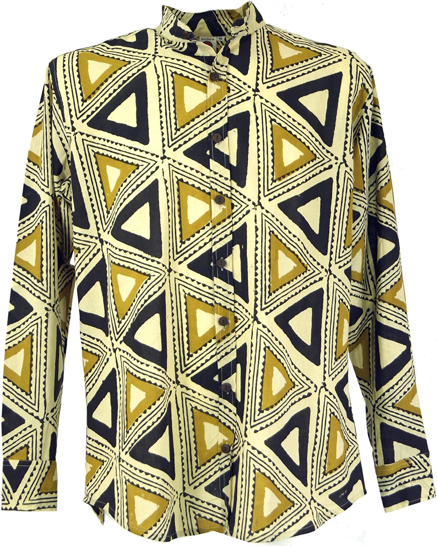 GURU-SHOP, Camisa Casual, Camisa Goa Boho, Camisa de Hombre de Manga Larga con Estampado Africano, Camisa de Cuello Alto, Algodón, Camisas de Hombre