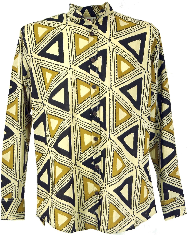 TALLA M. GURU-SHOP, Camisa Casual, Camisa Goa Boho, Camisa de Hombre de Manga Larga con Estampado Africano, Camisa de Cuello Alto, Algodón, Camisas de Hombre