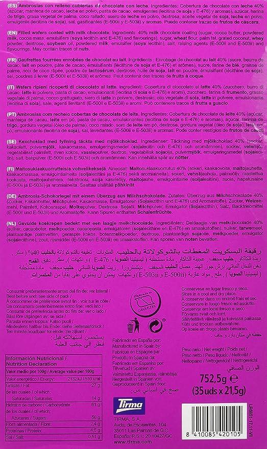 Tirma PT042010 - Ambrosías con Relleno Cubiertas de Chocolate con Leche, 1 x 35 Barritas: Amazon.es: Alimentación y bebidas