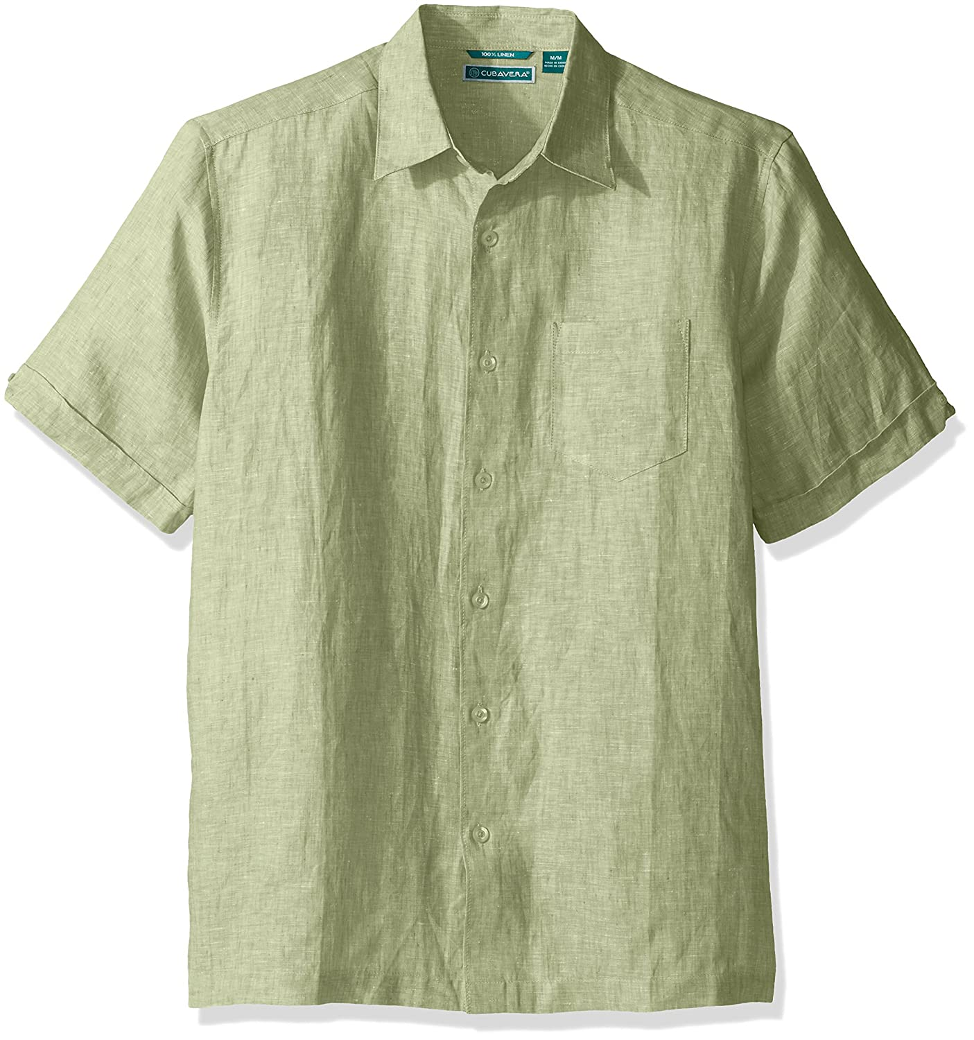 Cuba Vera mens big-tall Big and Tall Cross Dyed 100% Linen Short Sleeve Woven Shirt Cubavera CUWS5B5B