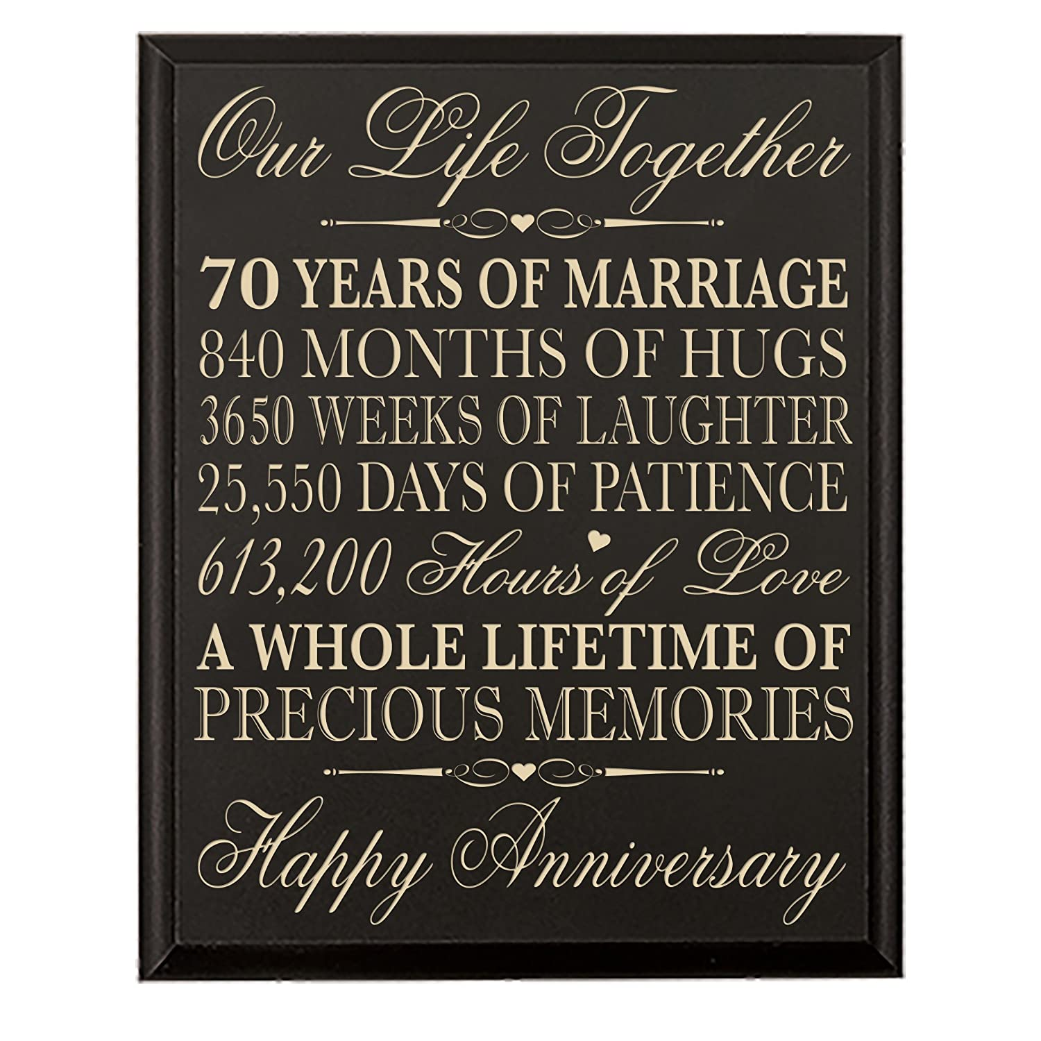 70th Wedding Anniversary Wall Plaque Gifts For Couple Parents 70th