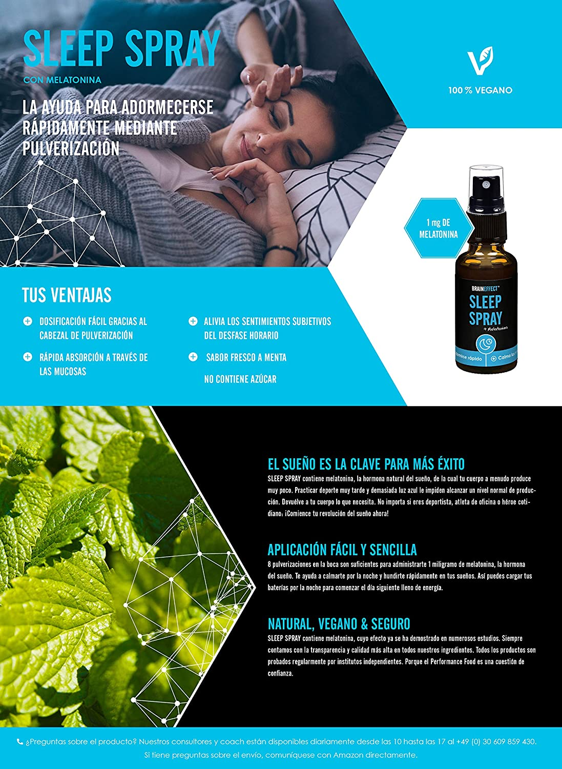BRAINEFFECT SLEEP SPRAY | 1mg Melatonina por porción | 30ml | La más rapida ayuda natural para dormir | Vegano | Hecho en Alemania: Amazon.es: Salud y ...