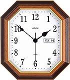 Vedette - VP40034 - Pendule Mixte - Quartz Analogique - Cadran Blanc - Bois - Jour/Date - 26.5 x 30.6 cm