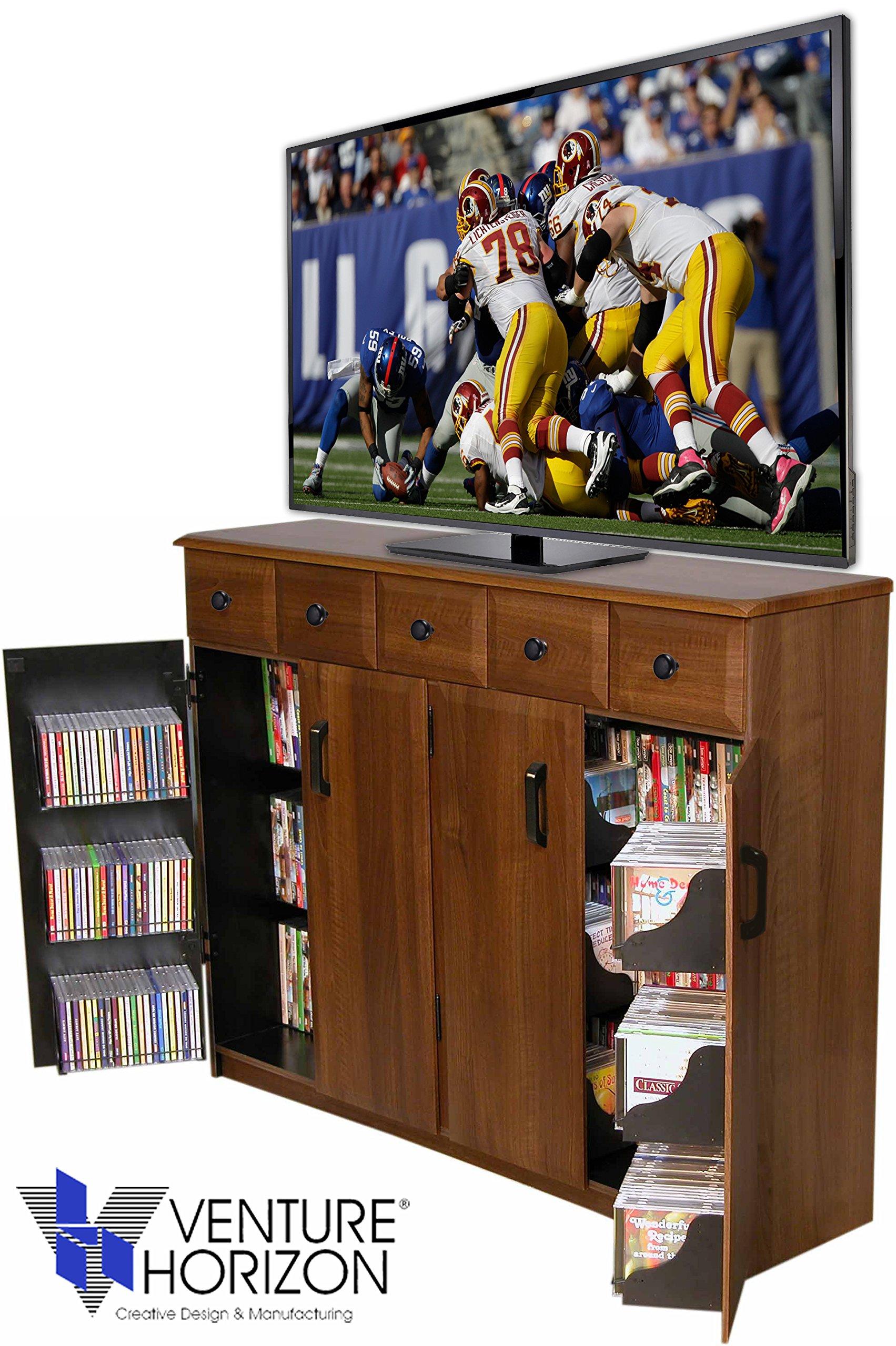 Venture Horizon Media Cabinet With Drawers- Walnut