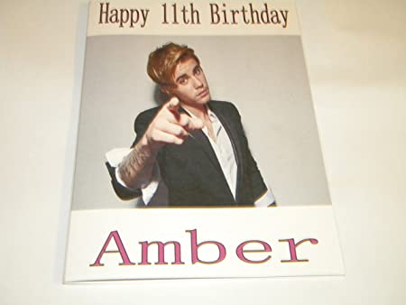 Personalised Justin Bieber Birthday Card Any Age 2 3 4 5 Free Pp