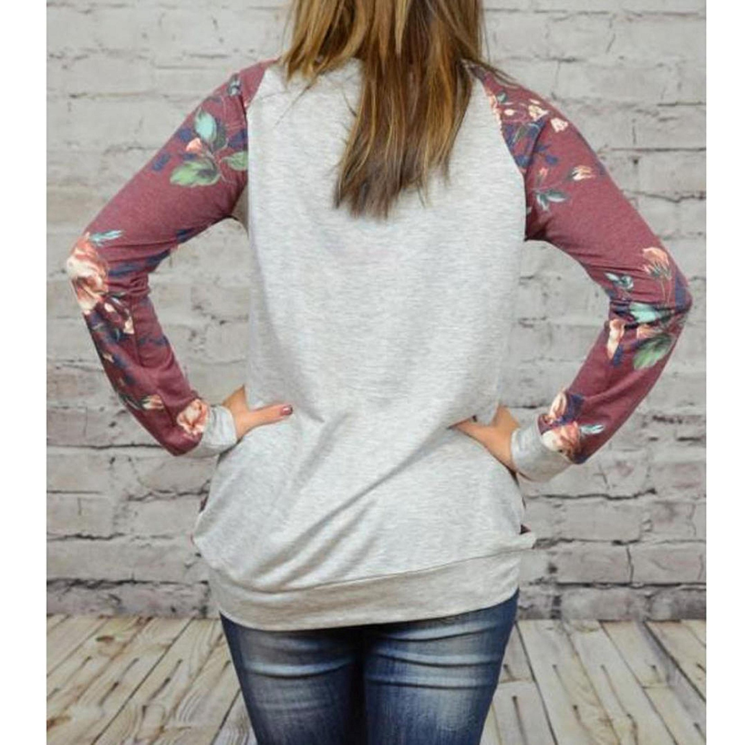 PPBUY Women Autumn Floral Printing Long Sleeve Shirt Casual Top Blouse (XL, Red) by PPBUY (Image #3)